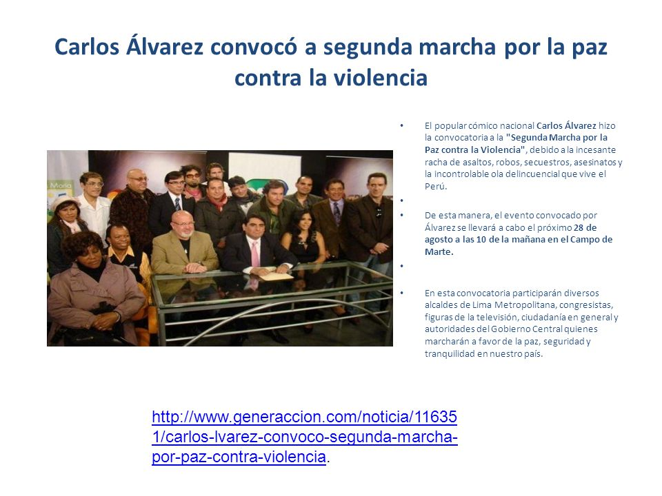 Carlos Álvarez convocó a segunda marcha por la paz contra la violencia El popular cómico nacional Carlos Álvarez hizo la convocatoria a la