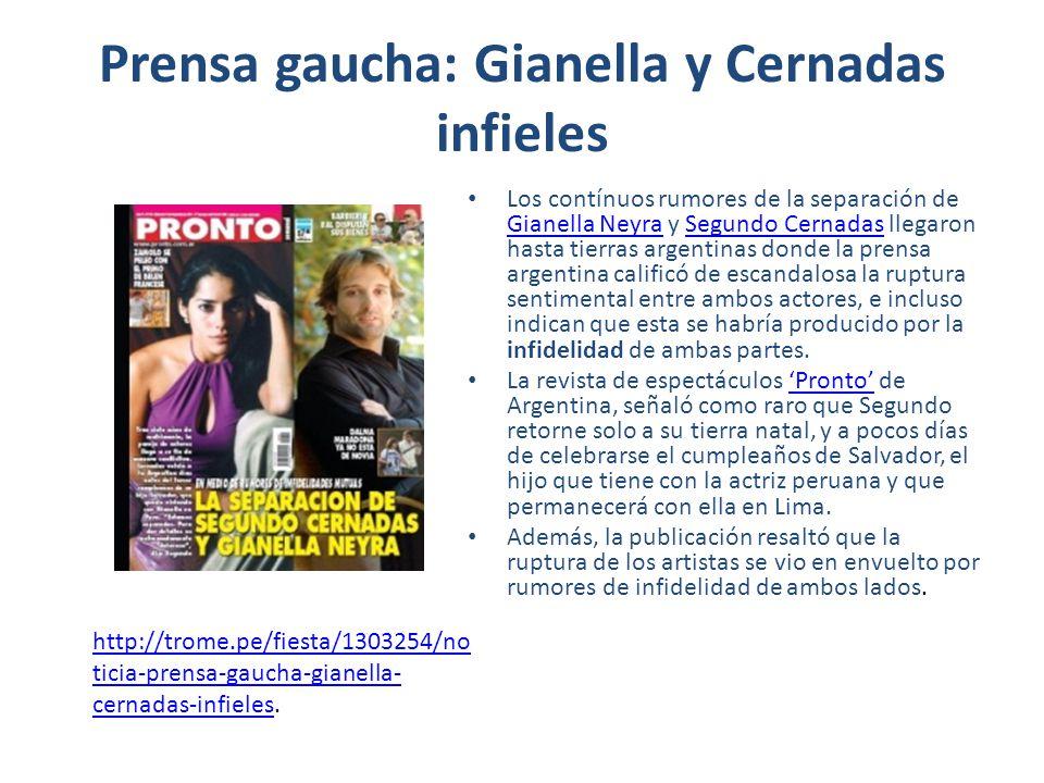 Prensa gaucha: Gianella y Cernadas infieles Los contínuos rumores de la separación de Gianella Neyra y Segundo Cernadas llegaron hasta tierras argenti