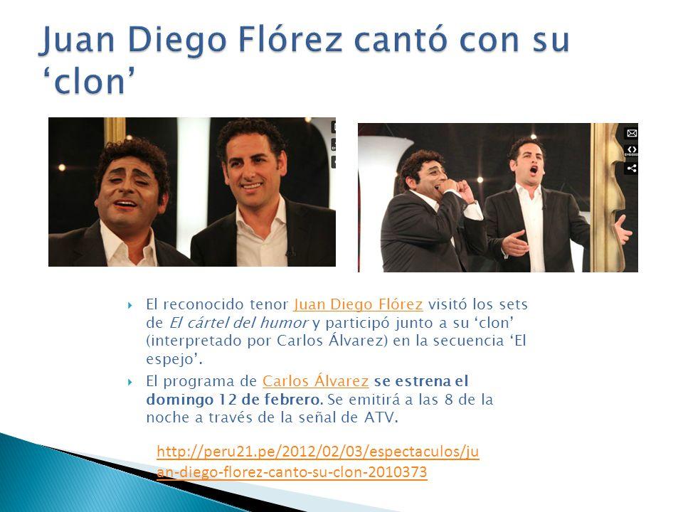 El reconocido tenor Juan Diego Flórez visitó los sets de El cártel del humor y participó junto a su clon (interpretado por Carlos Álvarez) en la secue