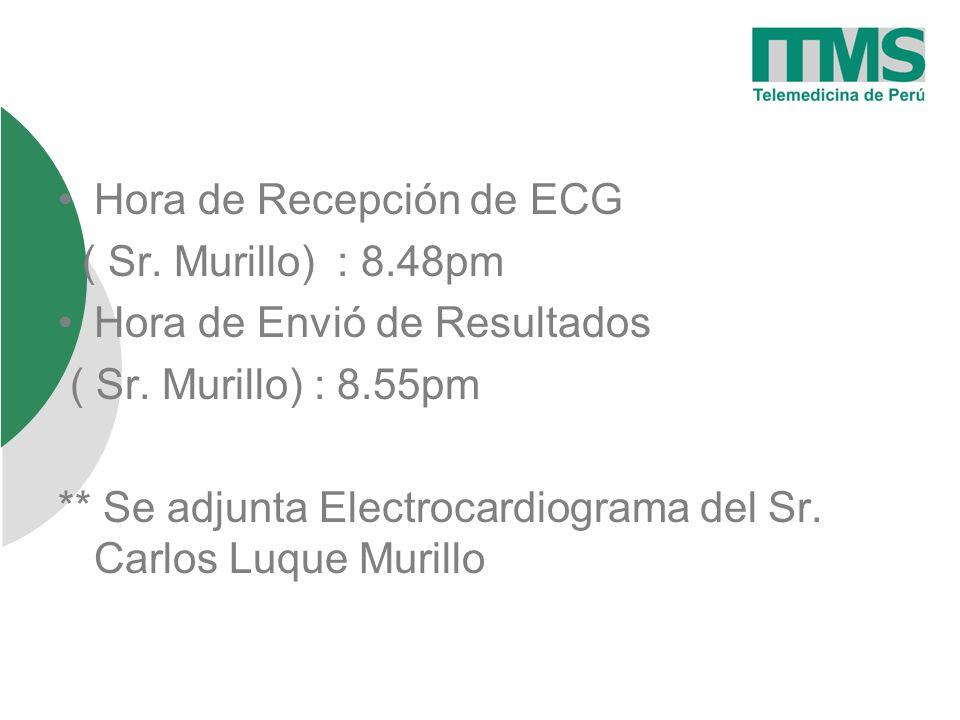 Hora de Recepción de ECG ( Sr.Murillo) : 8.48pm Hora de Envió de Resultados ( Sr.