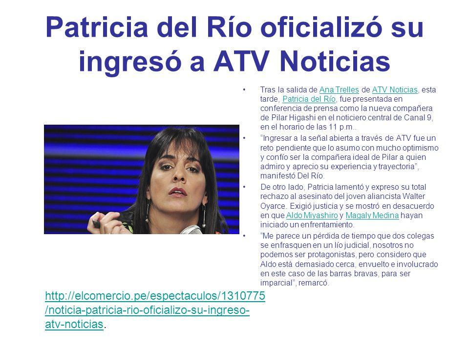 Patricia del Río es el nuevo rostro de ATV Noticias La periodista Patricia del Río es la nueva integrante de ATV Noticias.
