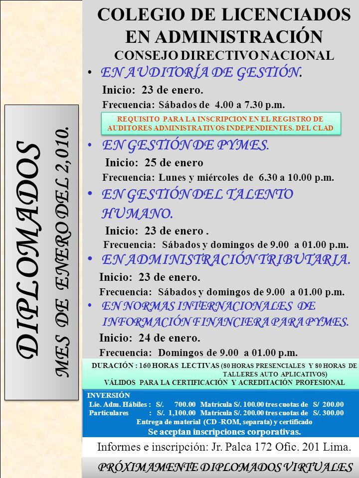 INVERSIÓN Lie.Adm. Hábiles : S/. 700.00 Matrícula S/.