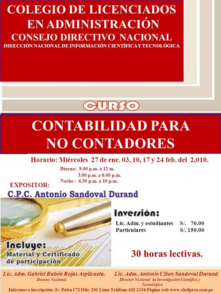 CONTABILIDAD PARA NO CONTADORES Lic.Adm. y estudiantes S/.
