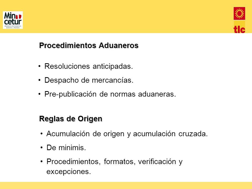 Resoluciones anticipadas. Despacho de mercancías. Pre-publicación de normas aduaneras. Procedimientos Aduaneros Reglas de Origen Acumulación de origen