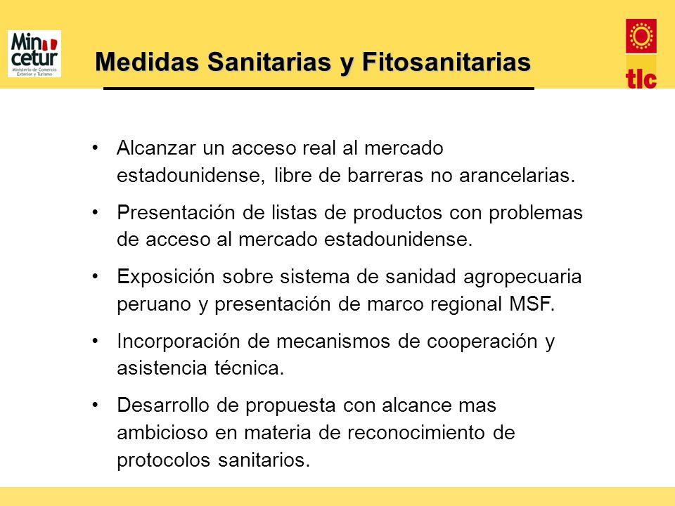 Medidas Sanitarias y Fitosanitarias Alcanzar un acceso real al mercado estadounidense, libre de barreras no arancelarias. Presentación de listas de pr