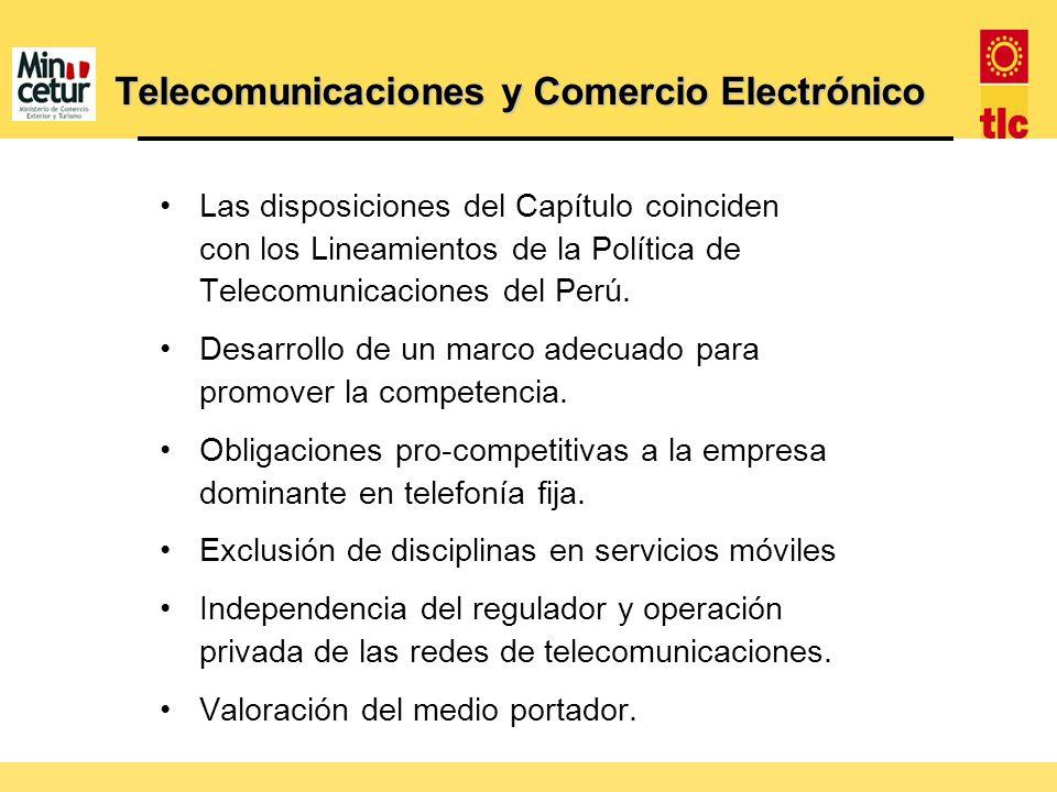 Telecomunicaciones y Comercio Electrónico Las disposiciones del Capítulo coinciden con los Lineamientos de la Política de Telecomunicaciones del Perú.