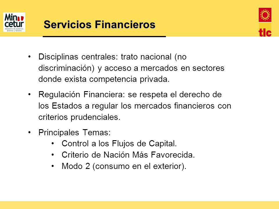 Servicios Financieros Disciplinas centrales: trato nacional (no discriminación) y acceso a mercados en sectores donde exista competencia privada. Regu