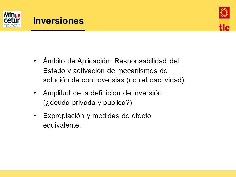 Inversiones Ámbito de Aplicación: Responsabilidad del Estado y activación de mecanismos de solución de controversias (no retroactividad). Amplitud de