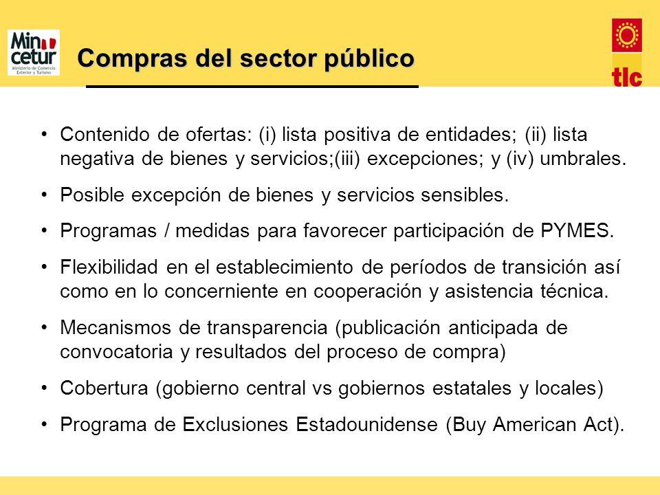 Contenido de ofertas: (i) lista positiva de entidades; (ii) lista negativa de bienes y servicios;(iii) excepciones; y (iv) umbrales. Posible excepción