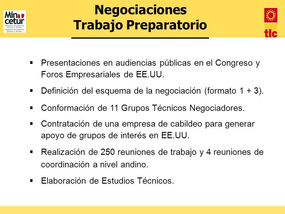 Presentaciones en audiencias públicas en el Congreso y Foros Empresariales de EE.UU. Definición del esquema de la negociación (formato 1 + 3). Conform