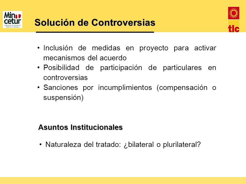 Solución de Controversias Inclusión de medidas en proyecto para activar mecanismos del acuerdo Posibilidad de participación de particulares en controv