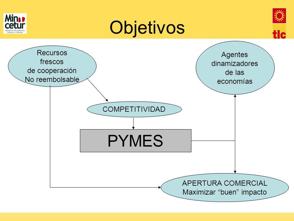 Objetivos Agentes dinamizadores de las economías COMPETITIVIDAD Recursos frescos de cooperación No reembolsable APERTURA COMERCIAL Maximizar buen impa