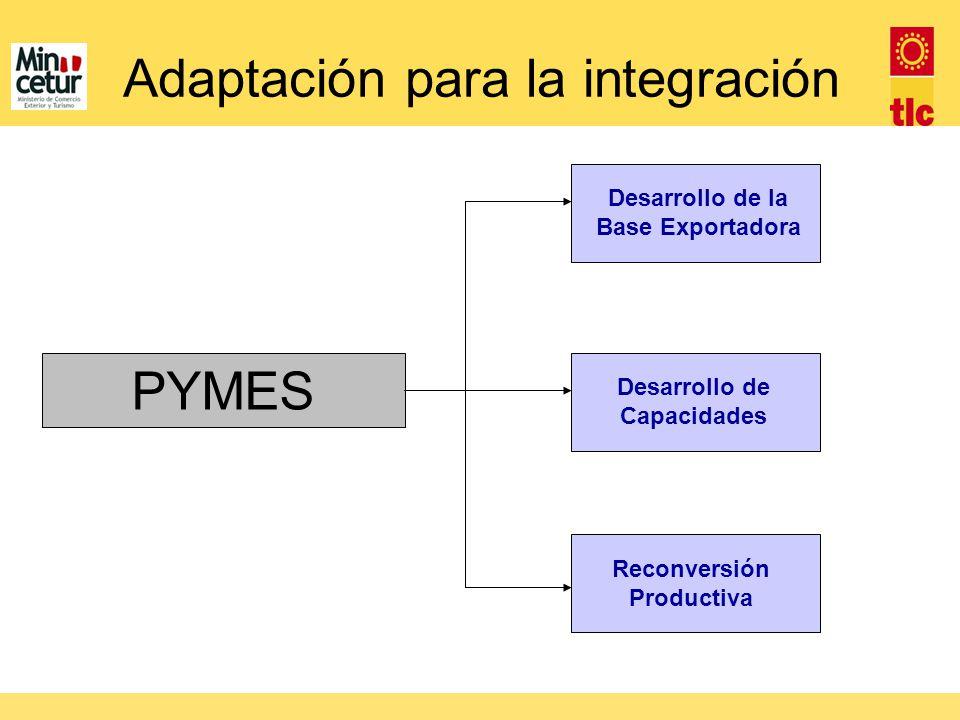 Adaptación para la integración Desarrollo de la Base Exportadora Desarrollo de Capacidades Reconversión Productiva PYMES