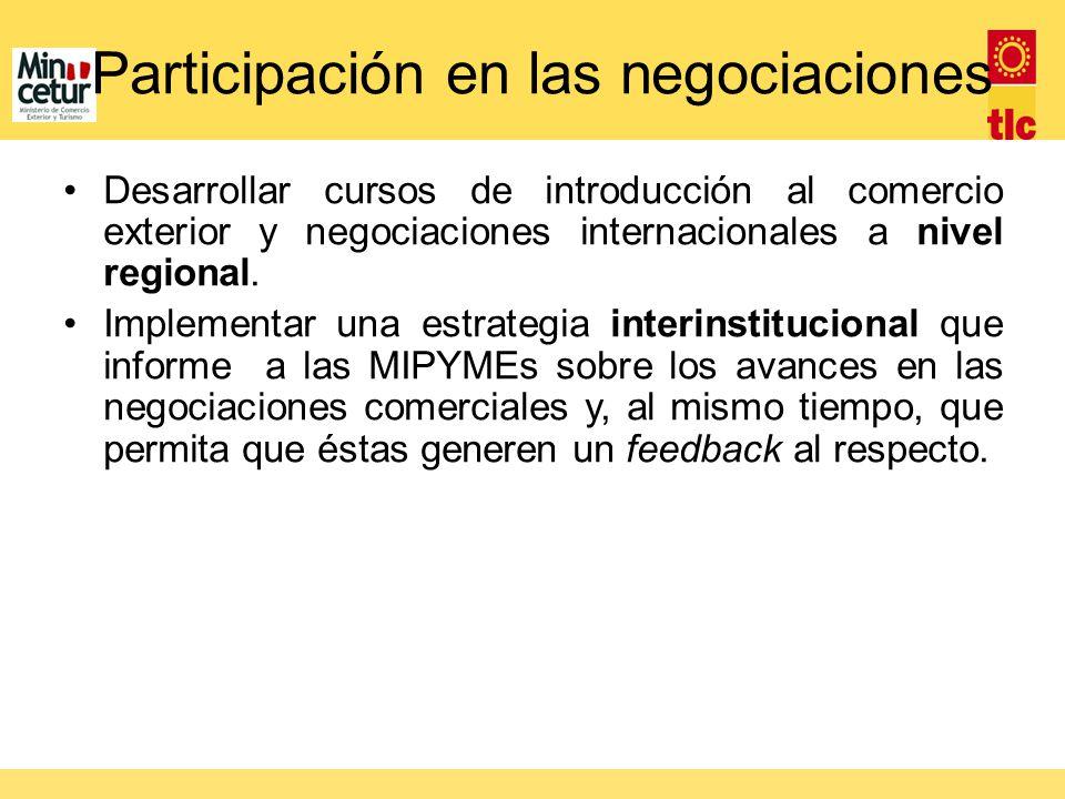 Desarrollar cursos de introducción al comercio exterior y negociaciones internacionales a nivel regional. Implementar una estrategia interinstituciona