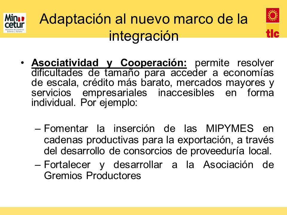 Adaptación al nuevo marco de la integración Asociatividad y Cooperación: permite resolver dificultades de tamaño para acceder a economías de escala, c