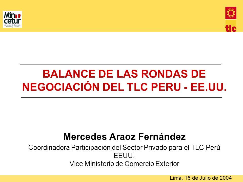 BALANCE DE LAS RONDAS DE NEGOCIACIÓN DEL TLC PERU - EE.UU. Mercedes Araoz Fernández Coordinadora Participación del Sector Privado para el TLC Perú EEU