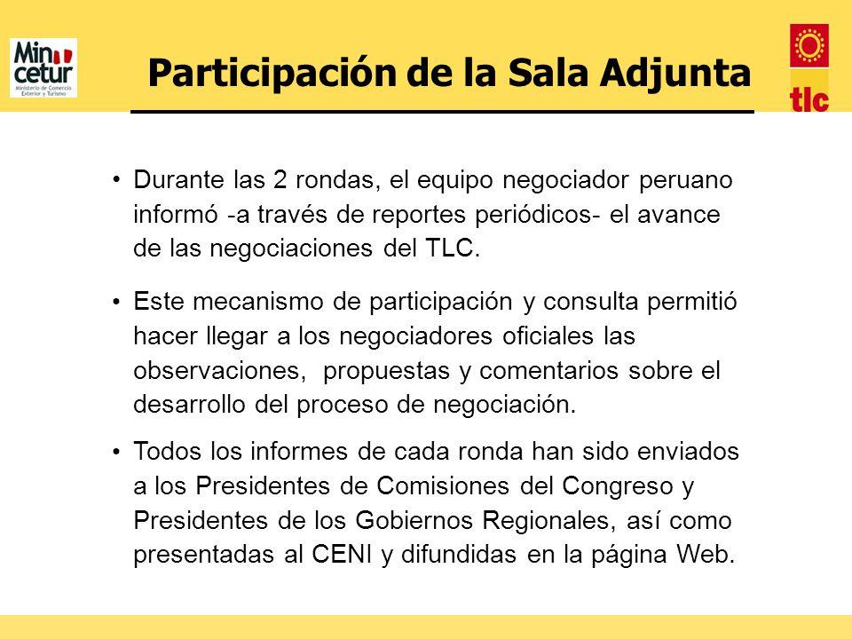Participación de la Sala Adjunta Durante las 2 rondas, el equipo negociador peruano informó -a través de reportes periódicos- el avance de las negocia