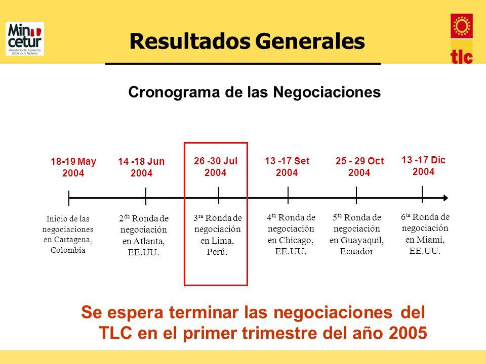Se espera terminar las negociaciones del TLC en el primer trimestre del año 2005 18-19 May 2004 Inicio de las negociaciones en Cartagena, Colombia 14