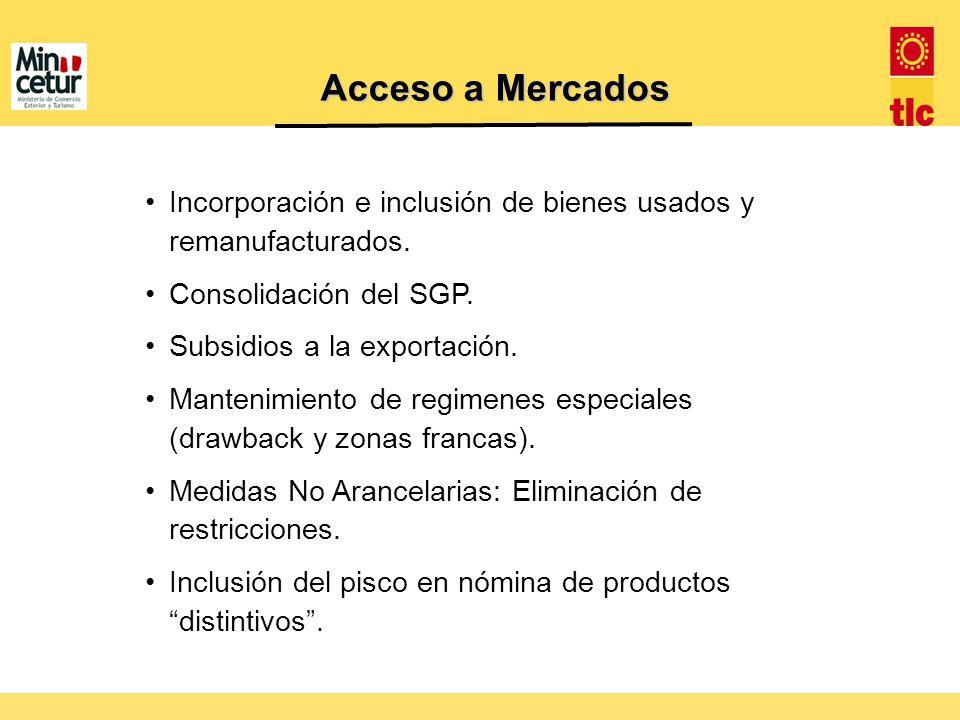 Incorporación e inclusión de bienes usados y remanufacturados. Consolidación del SGP. Subsidios a la exportación. Mantenimiento de regimenes especiale