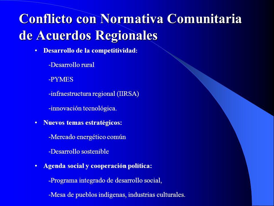 Desarrollo de la competitividad : -Desarrollo rural -PYMES -infraestructura regional (IIRSA) -innovación tecnológica. Nuevos temas estratégicos: -Merc