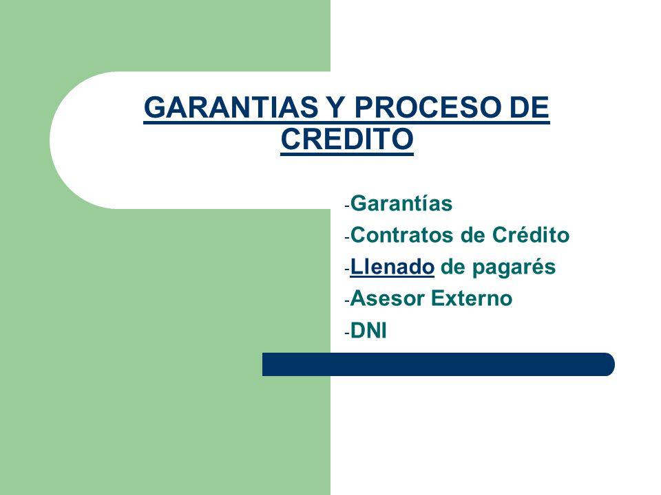 GARANTIAS Y PROCESO DE CREDITO - Garantías - Contratos de Crédito - Llenado de pagarés Llenado - Asesor Externo - DNI