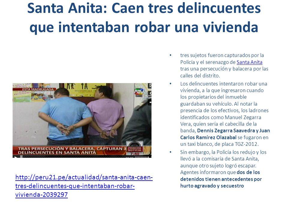 Santa Anita: Caen tres delincuentes que intentaban robar una vivienda tres sujetos fueron capturados por la Policía y el serenazgo de Santa Anita tras