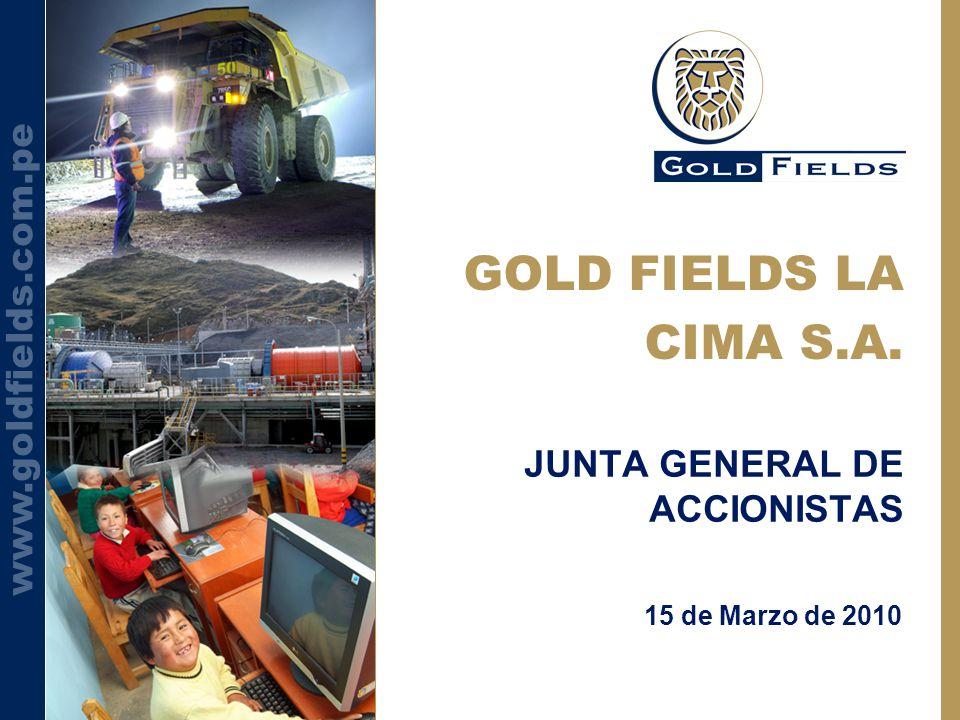 www.goldfields.com.pe GOLD FIELDS LA CIMA S.A. 15 de Marzo de 2010 JUNTA GENERAL DE ACCIONISTAS