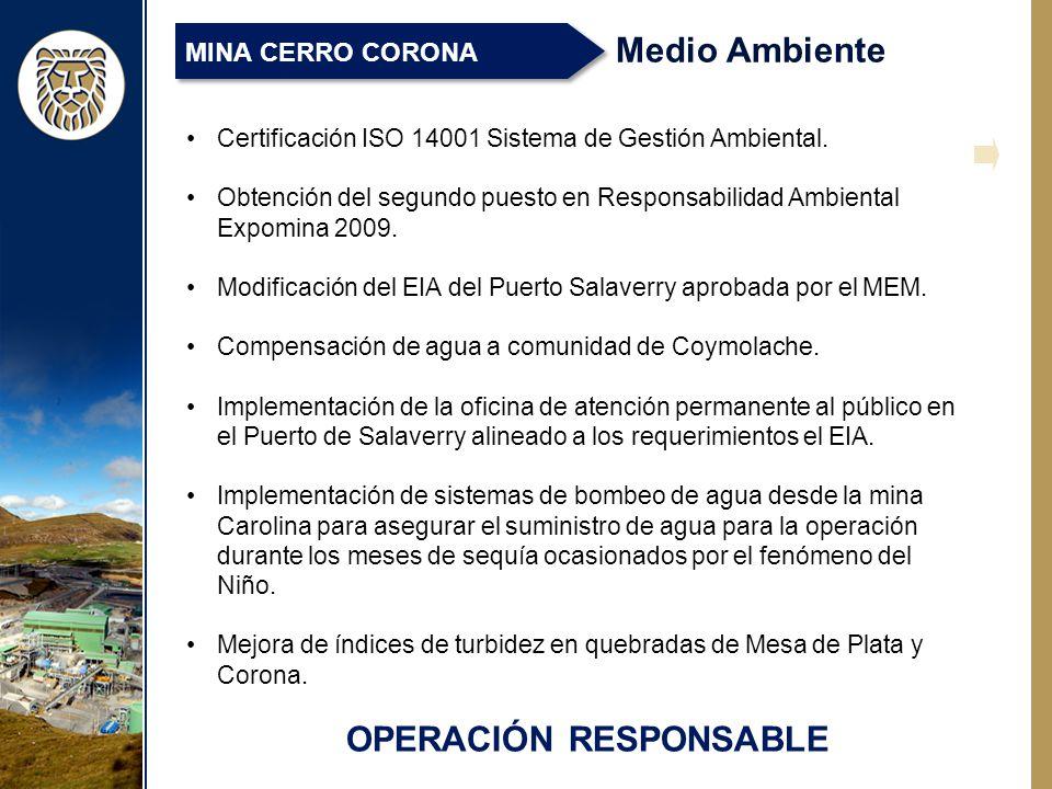 OPERACIÓN RESPONSABLE Medio Ambiente MINA CERRO CORONA Certificación ISO 14001 Sistema de Gestión Ambiental.