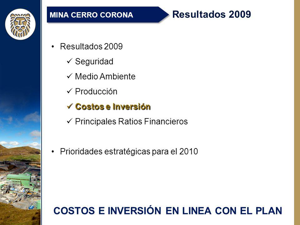 COSTOS E INVERSIÓN EN LINEA CON EL PLAN Resultados 2009 MINA CERRO CORONA Resultados 2009 Seguridad Medio Ambiente Producción Costos e Inversión Costos e Inversión Principales Ratios Financieros Prioridades estratégicas para el 2010