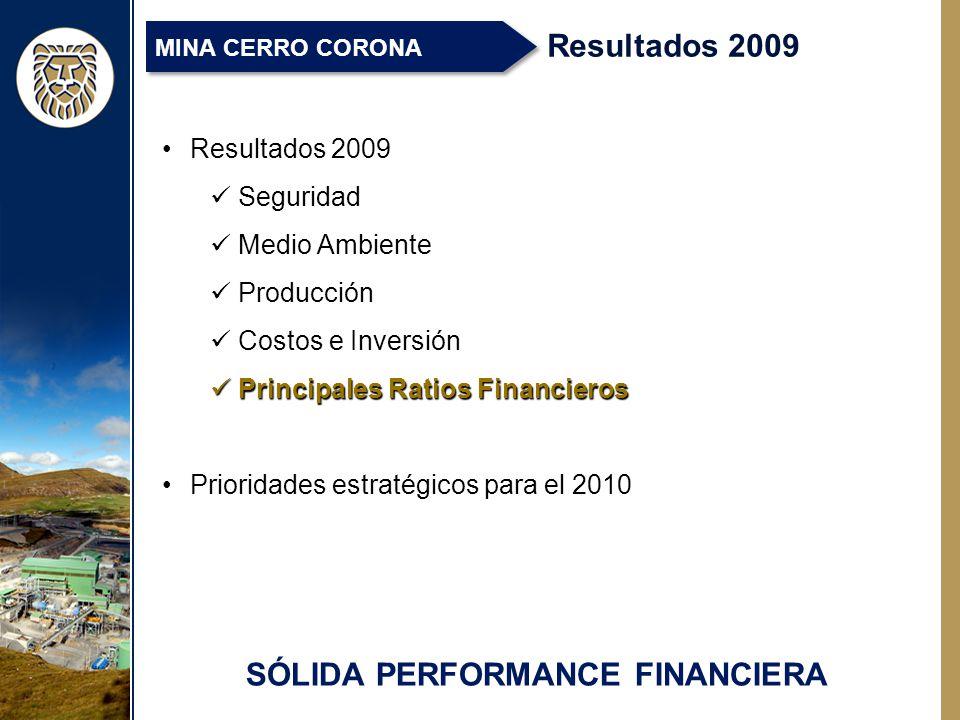 SÓLIDA PERFORMANCE FINANCIERA Resultados 2009 MINA CERRO CORONA Resultados 2009 Seguridad Medio Ambiente Producción Costos e Inversión Principales Ratios Financieros Principales Ratios Financieros Prioridades estratégicos para el 2010