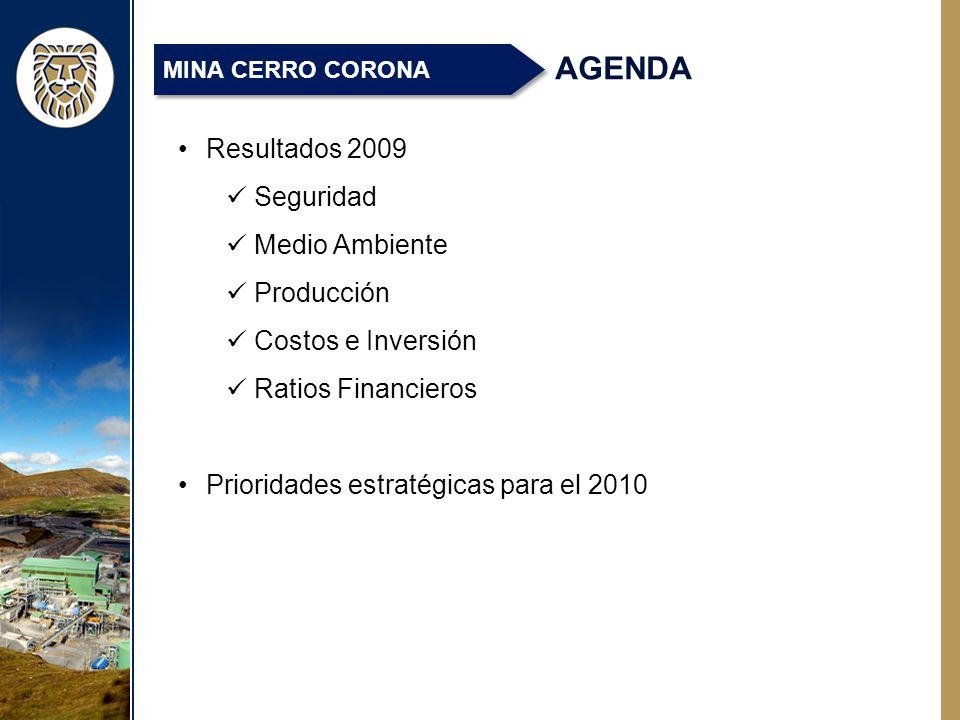 AGENDA Resultados 2009 Seguridad Medio Ambiente Producción Costos e Inversión Ratios Financieros Prioridades estratégicas para el 2010