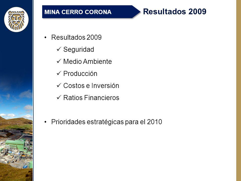 Resultados 2009 Seguridad Medio Ambiente Producción Costos e Inversión Ratios Financieros Prioridades estratégicas para el 2010