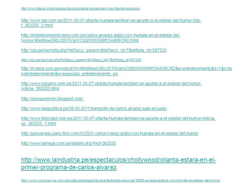 http://www.gtalatino.com/index.php?option=com_content&view=article&id=229739:%E2%80%9CTrampol%C3%ADn%20de%20Carlos% 20%C3%81lvarez%E2%80%9D%20sale%20en%20junio&catid=33:peru&Itemid=76http://www.gtalatino.com/index.php?option=com_content&view=article&id=229739:%E2%80%9CTrampol%C3%ADn%20de%20Carlos% 20%C3%81lvarez%E2%80%9D%20sale%20en%20junio&catid=33:peru&Itemid=76