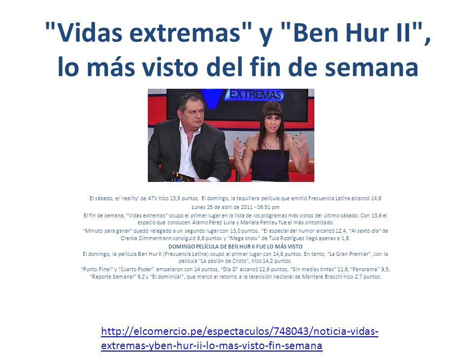 Vidas extremas y Ben Hur II , lo más visto del fin de semana El sábado, el reality de ATV hizo 13,6 puntos.