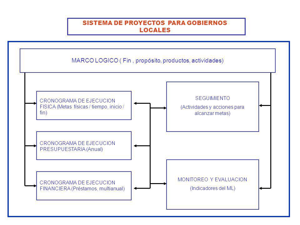 MARCO LOGICO ( Fin, propósito, productos, actividades) CRONOGRAMA DE EJECUCION FISICA (Metas físicas / tiempo, inicio / fin) CRONOGRAMA DE EJECUCION P