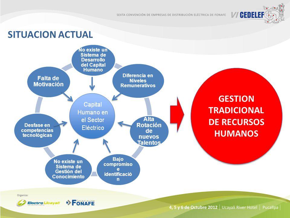 SITUACION ACTUAL Capital Humano en el Sector Eléctrico No existe un Sistema de Desarrollo del Capital Humano Diferencia en Niveles Remunerativos Alta