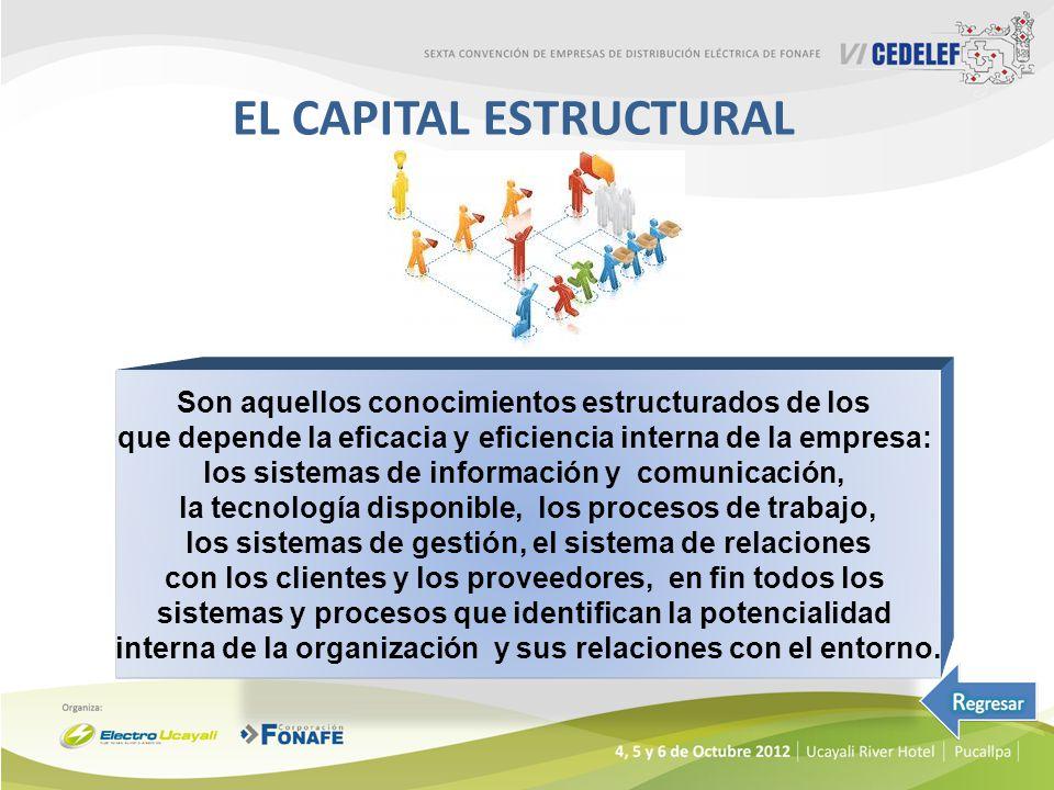 EL CAPITAL ESTRUCTURAL Son aquellos conocimientos estructurados de los que depende la eficacia y eficiencia interna de la empresa: los sistemas de inf