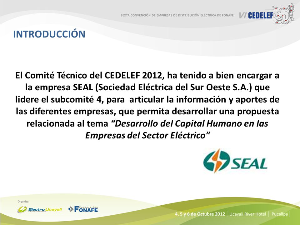 INTRODUCCIÓN El Comité Técnico del CEDELEF 2012, ha tenido a bien encargar a la empresa SEAL (Sociedad Eléctrica del Sur Oeste S.A.) que lidere el sub