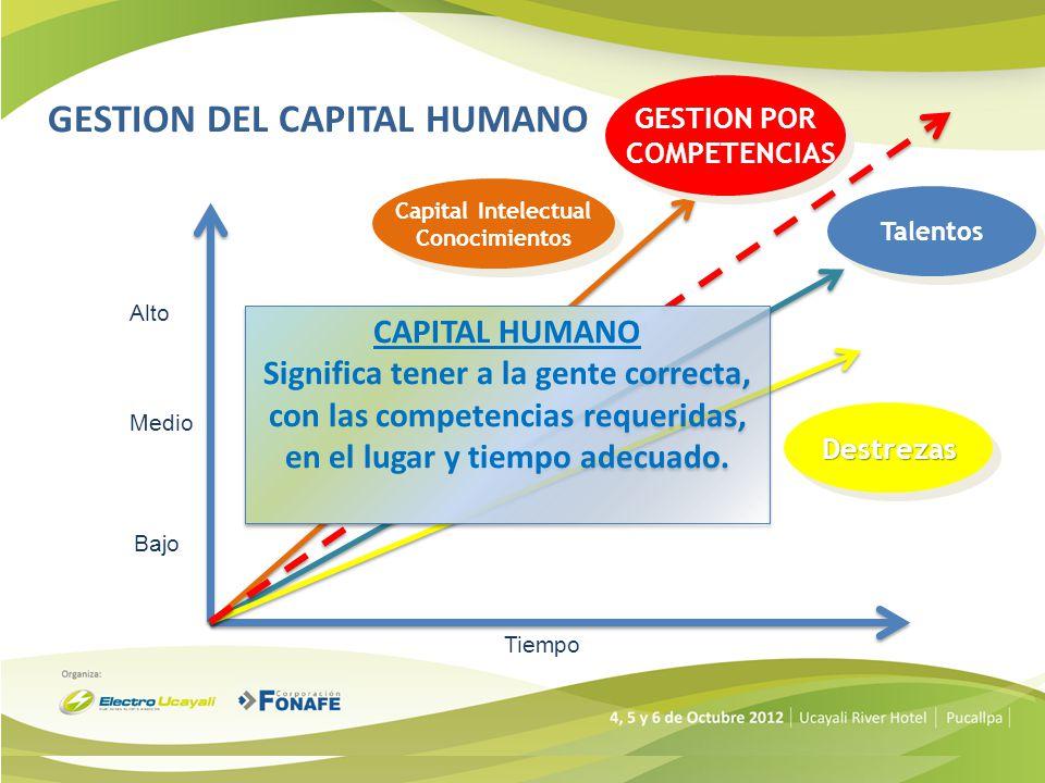 Medio Bajo Alto Tiempo Capital Intelectual Conocimientos Capital Intelectual Conocimientos GESTION POR COMPETENCIAS GESTION POR COMPETENCIAS Talentos