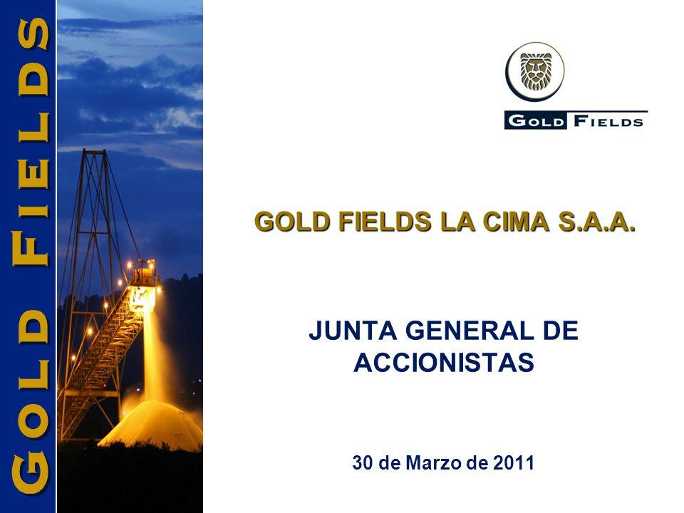 GOLD FIELDS LA CIMA S.A.A. 30 de Marzo de 2011 JUNTA GENERAL DE ACCIONISTAS