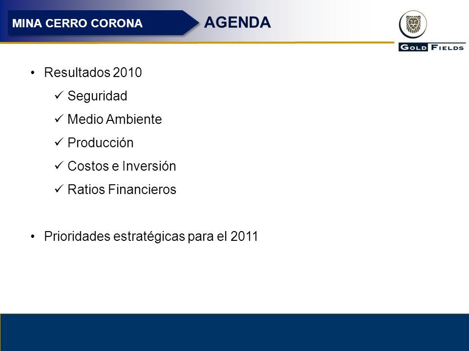 3 AGENDA Resultados 2010 Seguridad Medio Ambiente Producción Costos e Inversión Ratios Financieros Prioridades estratégicas para el 2011