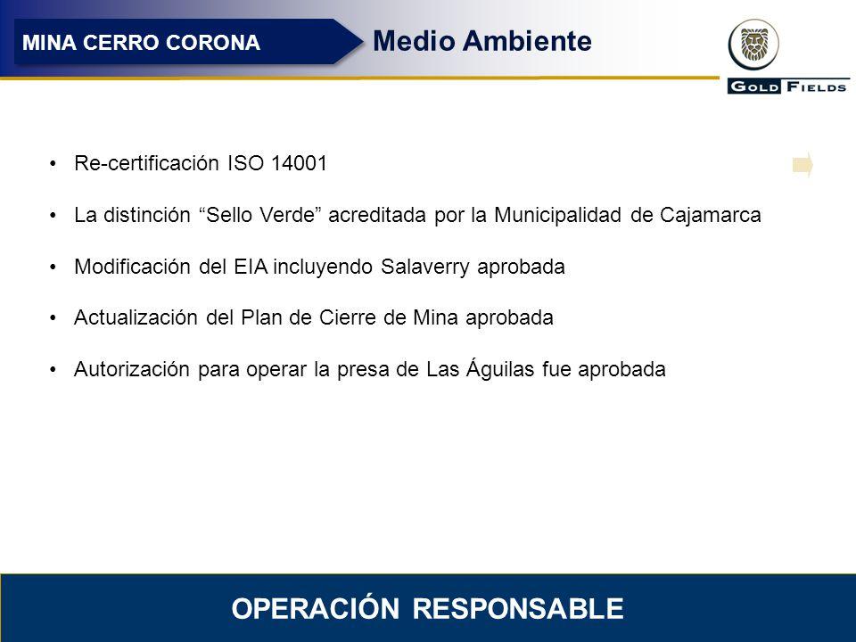 7 OPERACIÓN RESPONSABLE Medio Ambiente MINA CERRO CORONA Re-certificación ISO 14001 La distinción Sello Verde acreditada por la Municipalidad de Cajam