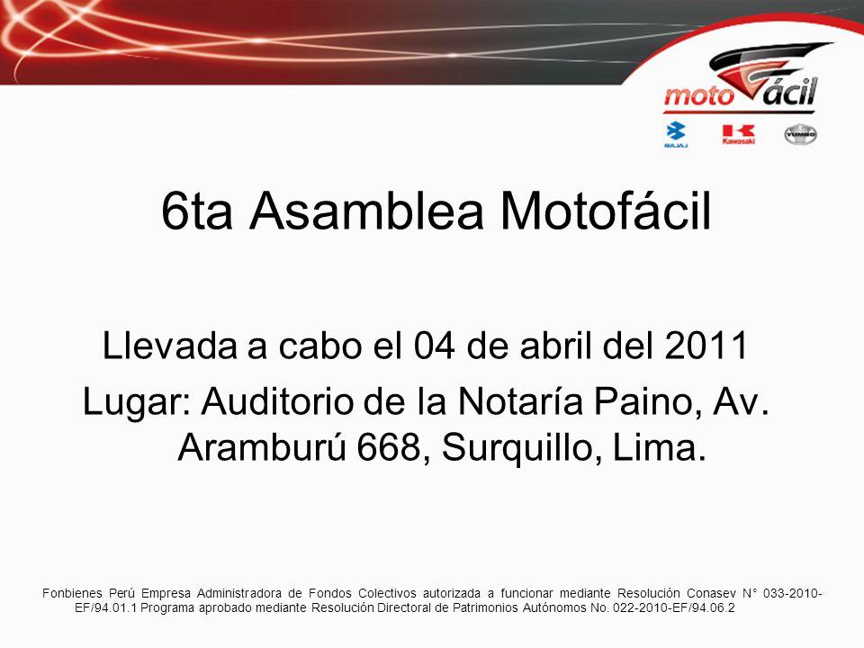 6ta Asamblea Motofácil Llevada a cabo el 04 de abril del 2011 Lugar: Auditorio de la Notaría Paino, Av. Aramburú 668, Surquillo, Lima. Fonbienes Perú