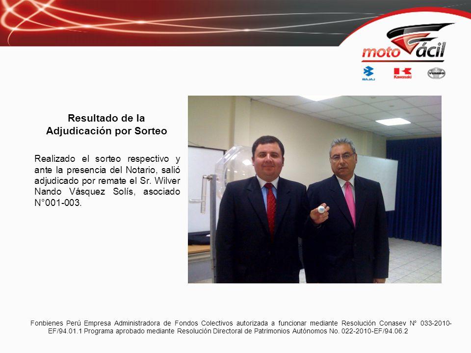 Modalidad por Remate: Ganador: Jhon José Luis Ramírez Tenazoa Asociado: 001-007 Número de cuotas rematadas: 03 DNI: 42434236 Monto Certificado: S/.