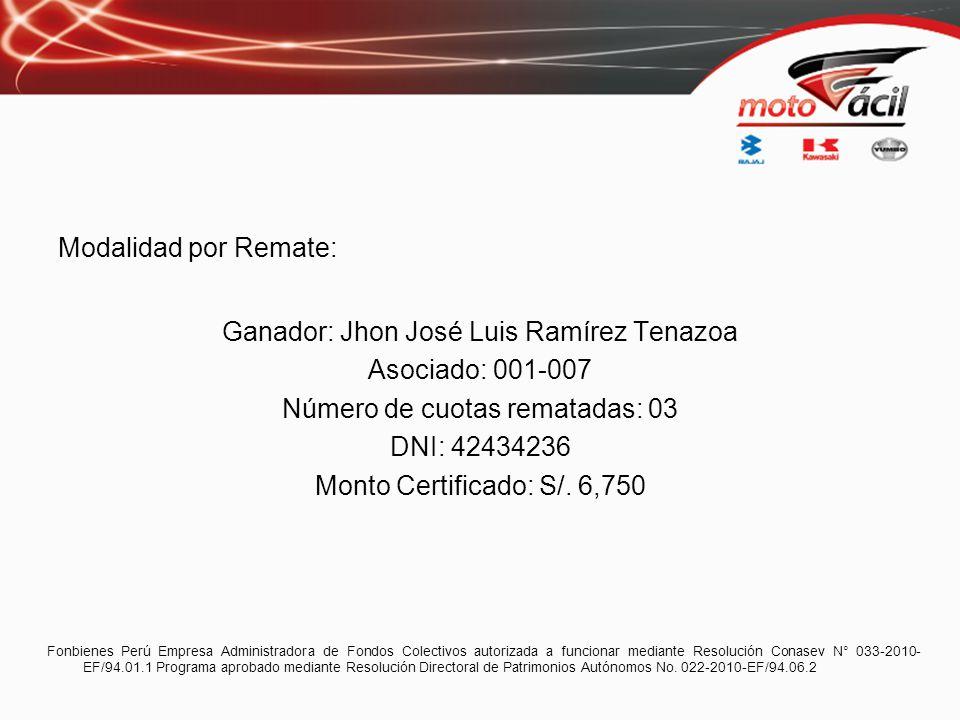 Modalidad por Remate: Ganador: Jhon José Luis Ramírez Tenazoa Asociado: 001-007 Número de cuotas rematadas: 03 DNI: 42434236 Monto Certificado: S/. 6,