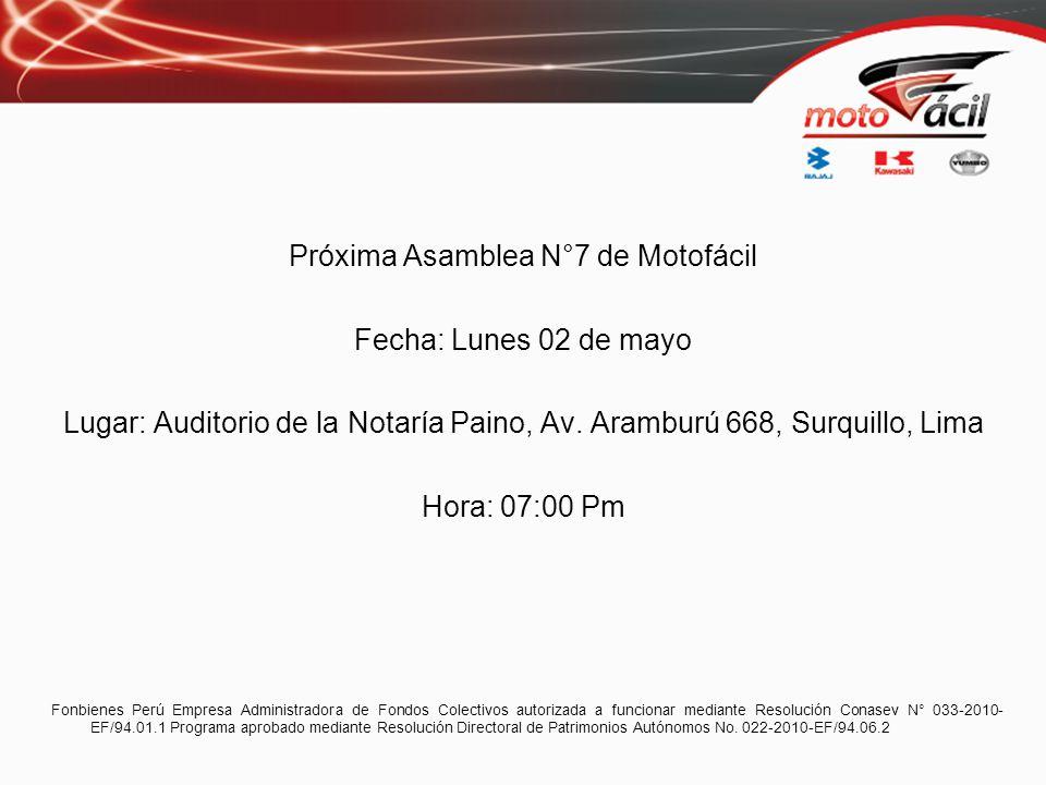 Próxima Asamblea N°7 de Motofácil Fecha: Lunes 02 de mayo Lugar: Auditorio de la Notaría Paino, Av. Aramburú 668, Surquillo, Lima Hora: 07:00 Pm Fonbi