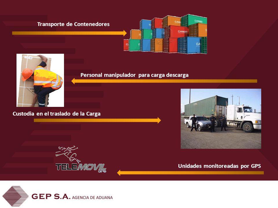 Transporte de Contenedores Personal manipulador para carga descarga Custodia en el traslado de la Carga Unidades monitoreadas por GPS