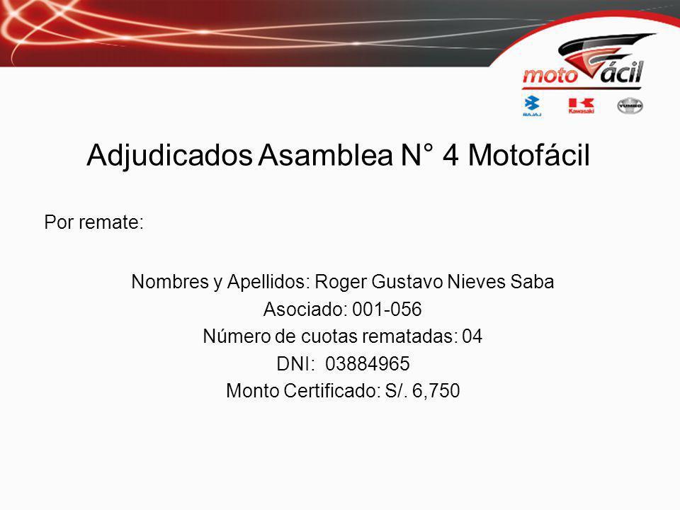Por remate: Nombres y Apellidos: Roger Gustavo Nieves Saba Asociado: 001-056 Número de cuotas rematadas: 04 DNI: 03884965 Monto Certificado: S/.