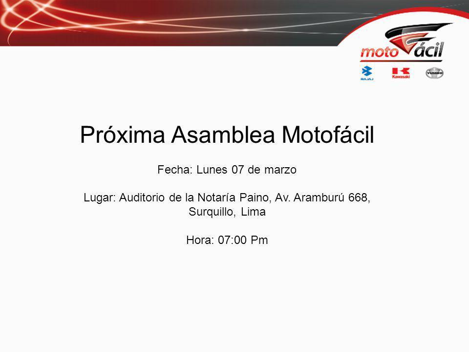 Próxima Asamblea Motofácil Fecha: Lunes 07 de marzo Lugar: Auditorio de la Notaría Paino, Av.