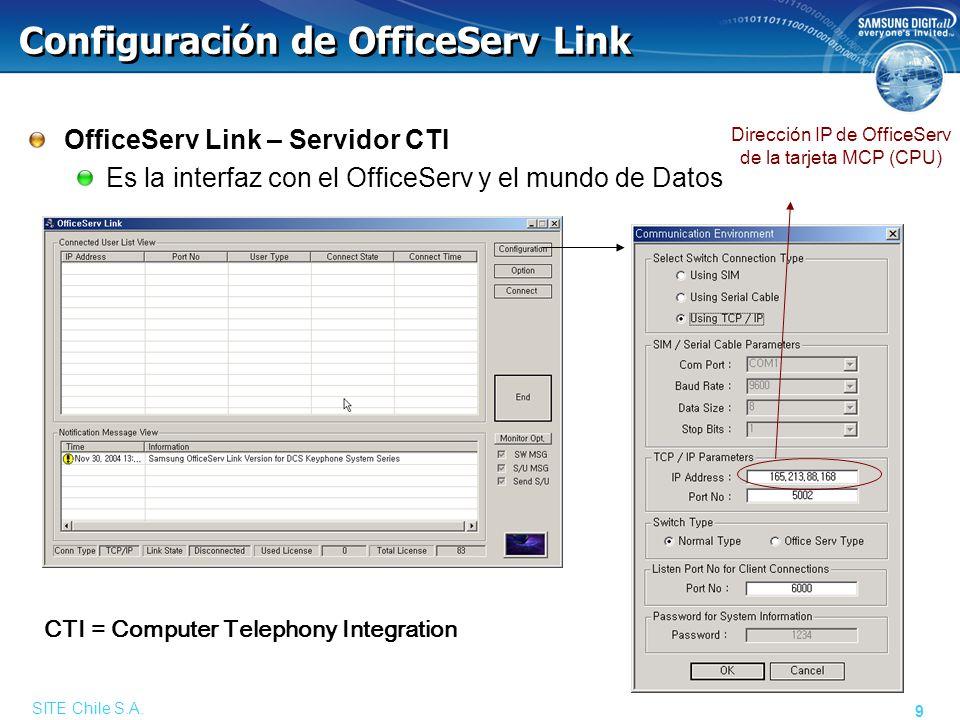 SITE Chile S.A. 9 Configuración de OfficeServ Link OfficeServ Link – Servidor CTI Es la interfaz con el OfficeServ y el mundo de Datos Dirección IP de